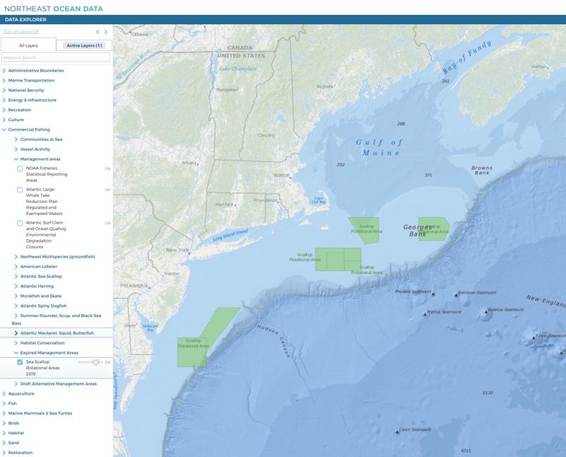 Screenshot of 2019 Sea Scallop Rotational Areas