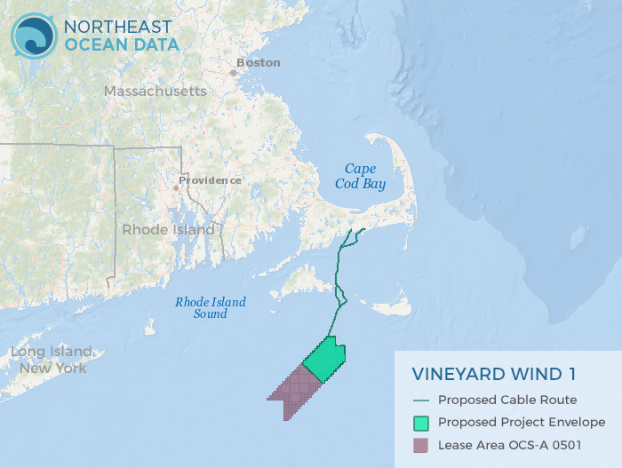 Map of Proposed Vineyard Wind 1 Offshore Wind Project